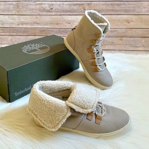 Timberland Taupe Dausette Fleece Fold Down Boots